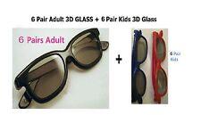 6 Pairs Adult +6 Kids(gift)  Passive 3D Glasses work for VIZIO LG Passive 3D TV