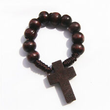 Lot of 6pcs Wooden Bead Religious Finger Rosary With Cross in Dark Brown Colour