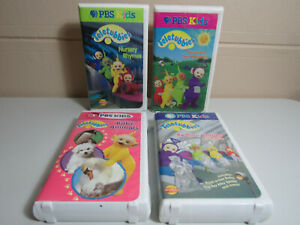 4 Teletubbies VHS Tape Lot Dance With Bedtime Stories Nursery Rhymes Baby Animal