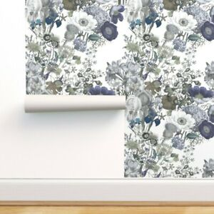 Peel-and-Stick Removable Wallpaper Westhaven Initials Green Blue Flowers Brown
