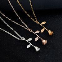 Halskette Kette Rose Herz Strass Gold Silber Rosegold Blume