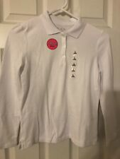 The Children's Place Girls White Long Sleeve Polo Shirt Size 10 Nwt