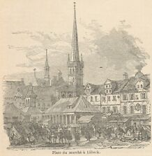 C8095 Germany - Lübeck - Market Square - Stampa antica - 1892 Engraving