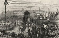 Queen Victoria's Jubilee Festival at Wakefield. Yorkshire, antique print, 1887