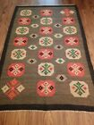 Authentic Hand Knotted Vintage Russian Folk Wool Kilim Area Rug 7.5 x 4.10 Ft