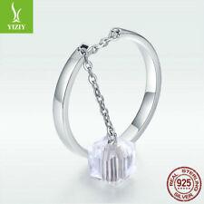 925 Sterling Silver Pure CZ Dangle Finger Ring Adjustable For Women Adjustable