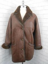 Vintage 1980s Ladies Brown Leather & Sheepskin Lined Retro Jacket Coat 14/16