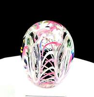"GENTILE GLASS CO SIGNED PINK RIBBONS 3 1/2"" PENCIL HOLDER PAPERWEIGHT 1950-75"