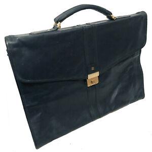 Vintage LANVIN Navy Soft Leather Portfolio Briefcase