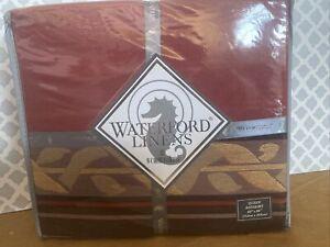 "New Waterford Linens Morgan Red Gold Bedskirt Bed Skirt 15"" Drop Queen 60 X 80"