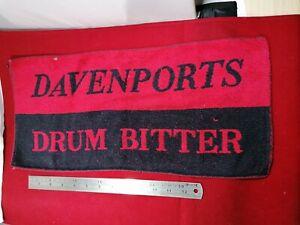 VINTAGE DAVENPORTS DRUM BITTER PUB BAR TOWEL BEER MAT BREWERIANA 1970s Rare