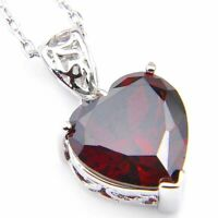 Gorgeous Natural Heart Fire Red Garnet Gemstone Platinum Plated Necklace Pendant