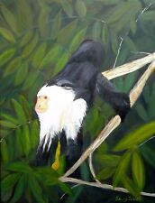 Capuchin (White-Face) Monkey Original Oil Painting on 16x20 Canvas -- Free Ship