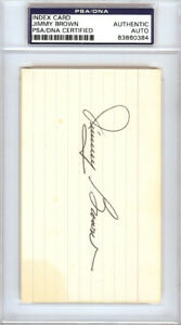 Jimmy Brown Autographed Signed 3x5 Index Card Cardinals PSA/DNA #83860384