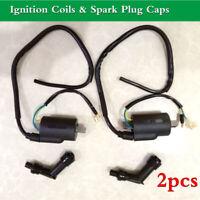 2x Ignition Coils & Spark Plug Caps For Honda CB350 CB360 CB450 CL350 CL360 Twin