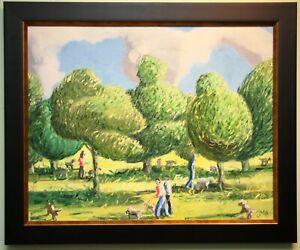 Original Modern Irish Art Painting DOG WALKING IN THE PARK by artist JOHN MCCART