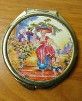 Double Mirror Compact with Man Woman Child Grapes Roses Purse Pocket Vintage