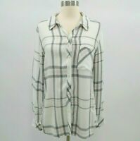 Rails Shirt Blouse Womens Plaid Flannel S Small Hunter Pink White Gray