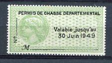 Fiscal - Permis de chasse 1949-Timbre neuf sans charnière -Rare en cette qualité