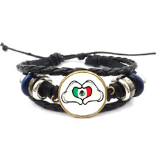 Hands-Heart Mexican Glass Cabochon Bracelet Braided Leather Strap Bracelets