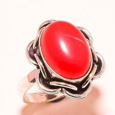 """RED CORAL GEMSTONE FASHION JEWELRY RING """"8"""""""