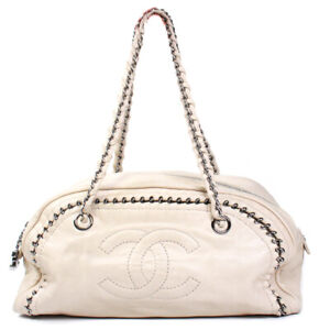 Chanel - Luxe Ligne Chain Around Bowler Bag - Cream Leather Logo Zip Tote CC