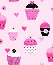 CHEAP! Cupcakes Pink White Polka Dot Childrens Girls Wallpaper