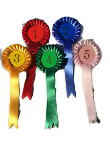 Set of 3 x 1 tier Rosettes.  1st - 3rd, UK, USA, well done, or clear round sets