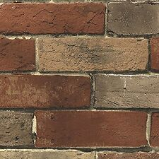 33 ft. Wallpaper Faux Rust Tuscan Brick Wall Vintage Stone Prepasted Double Roll