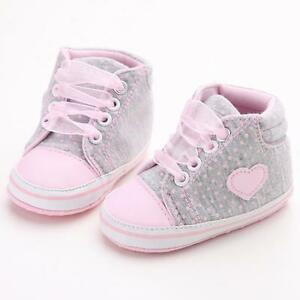 Baby Toddler Girls Soft Crib Sole Infant Prewalker Anti-slip Lace Sneaker Shoes