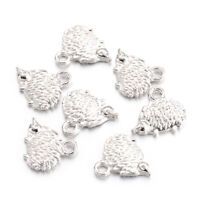 100pc Tibetan Alloy Rhinestone Owl Pendants Large Silver Charms Nickel Free 48mm