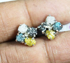 4.22 tcw Blue raw diamond earring White, Black yellow Diamond 925 silver earring