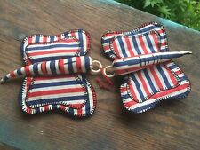 Antique / Vintage Butterfly Red White and Blue Patriotic Butterfly Potholder