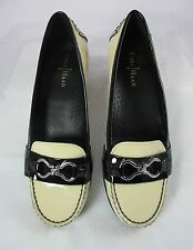 COLE HAAN WOMEN'S FLAT LOAFER SHOES CREAM & BLACK PATENT LEATHER SIZE 6-1/2 EUC