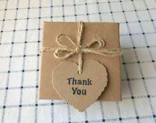 25 Handmade Thank You Love Heart Kraft Gift Tags Wedding Baptism Easter Favours