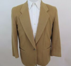 Women's L.L.Bean Freeport Maine Wool Cashmere Beige Blazer Jacket Coat 12 P USA