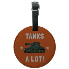 Tanks A Lot Thanks Funny Humor Round Leather Luggage Card Carry-On ID Tag