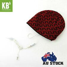 Warm Soft Beanie Hat Smart Headset Headphones Speaker Red Blocky