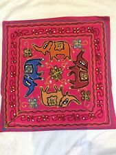 "INDIAN ELEPHANT SEQUIN HAND EMBROIDERED PINK CUSHION COVER 17"" X 16"" ONE ONLY"