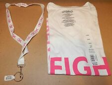 Breast Cancer Awareness T-Shirt 100%C & Lanyard Neck Strap Lg Hybrid V Neck 128H