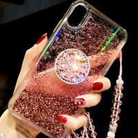 Liquid Case W/ Crystal Strap Holder Bling Glitter Diamond for iPhone XS MAX XR X