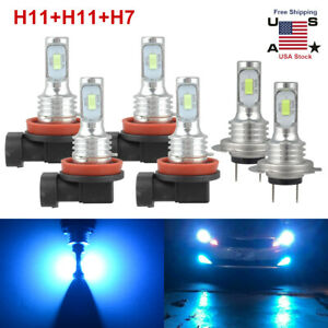 LED Headlight Combo H7+H11+H11 High Low Beam+Fog Light Bulbs Kit 6000K Ice Blue