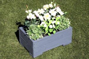 Silver Grey Wooden Decking Trough Planter Veg Bed Flower Plant Pot 50x32x23 (cm)