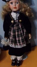 "Vintage 16"" China doll with velvet hat, jacket, purse, w/stand, excellent cond."