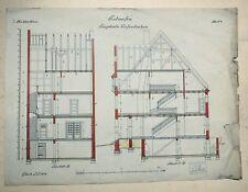 Bauzeichnung Eingebautes Einfamilienhaus, Handzeichnung 1912