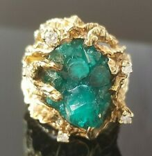12TCW Vintage Naturalist Emerald Diamond Heavy 14k yellow gold ring