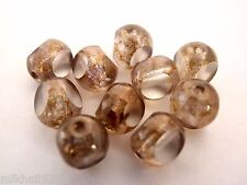25 6mm Czech Glass Antique Style Triangle beads: Luster-Transp.Gold/Smoke Topaz