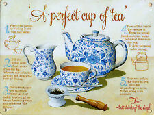 New 30x40cm Perfect Cup of Tea instructions large metal wall sign