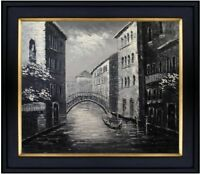 Framed, Quality Hand Painted Oil Painting Venice Waterway Black/White 20x24in