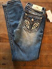 NEW $104 MISS ME Hailey Skinny Embellished Flap Jeans Sz 25(27)X 30